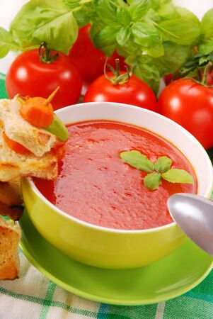 tomato cream soup with star shape  croutons photo