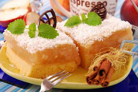 marmelade: apple cake with coconut flakes on the top Stock Photo