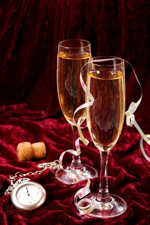 two glasses with champagne for New Year  photo