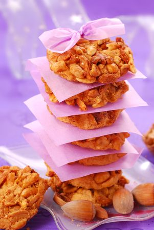 homemade nuts cookies arranged in pile with tissue paper Stock Photo - 5920456