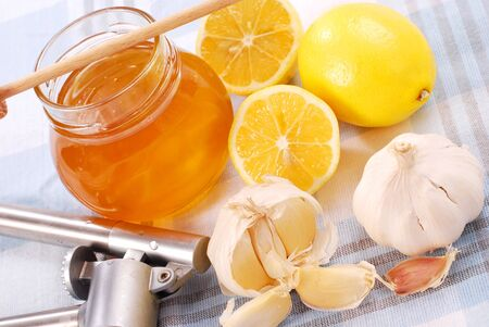 honey,garlic and lemon as natural medicine Stock Photo