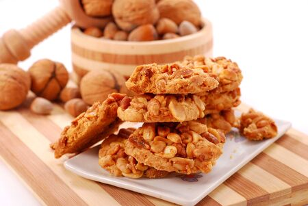 homemade cookies: homemade  cookies with peanuts,hazelnuts and walnuts
