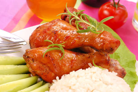 baked chicken legs with honey and soy sauce photo