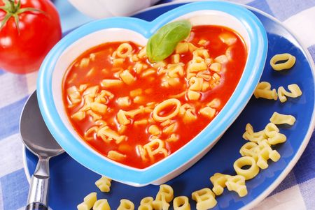 fussy: tomato soup with  pasta in the shape of letters  for child