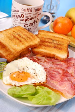 english breakfast: bacon and eggs for english breakfast Stock Photo