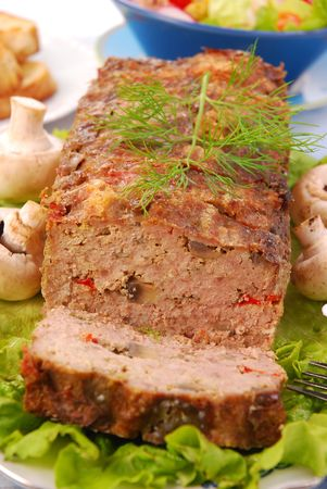 baked meatloaf with mushrooms and paprika Stock Photo
