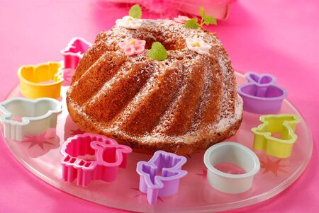 traditional ring cake with icing sugar for easter photo