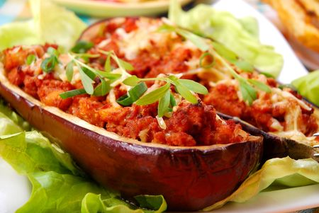 aubergine stuffed with mince meat,cheese in  tomato sauce