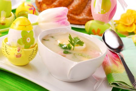 traditional white borscht  on easter table Stock Photo