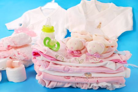 layette for newborn baby girl Stock Photo