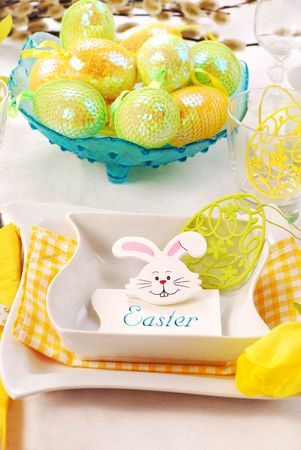 table decoration for easter time photo