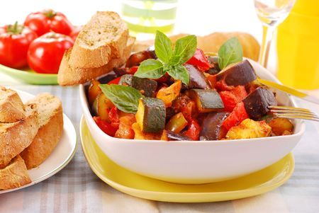 traditional vegetable ratatouille with baguette  for lunch