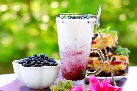tall glass: blueberry milkshake with fresh fruits in tall glass on garden table Stock Photo