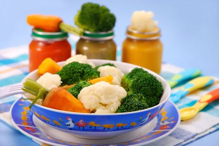 pap: steamed broccoli,carrot and cauliflower  for baby or ready vegetables in jars
