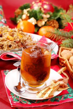 compote: traditional christmas eve`s sweets- compote of dried fruits and noodles with poppy seeds
