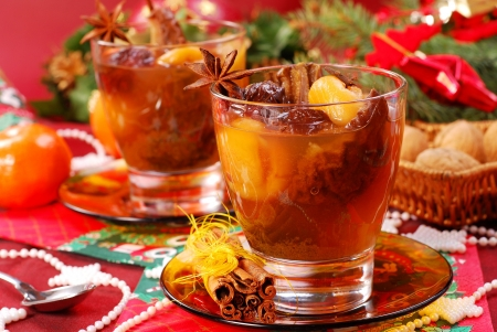 dried plums: traditional christmas eve`s compote of dried fruits and spices Stock Photo
