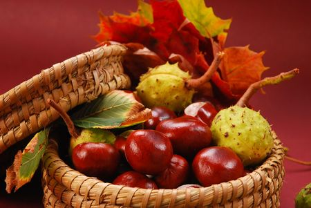 bowl of autumn chestnuts and leaves on brown background photo