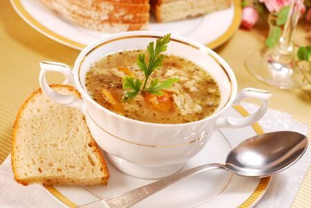 offal: traditional polish tripe soup with vegetables in white elegance dishware