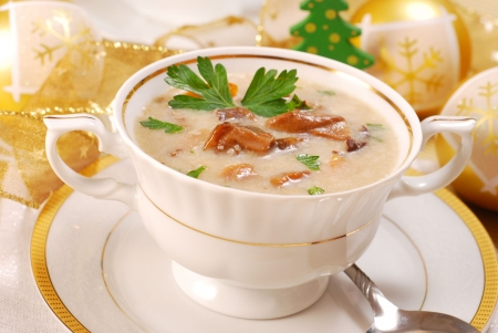 dishware: traditional polish mushroom soup with cream for christmas in white elegance dishware