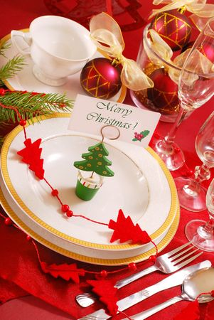 decoration of christmas table in red and white colors Stock Photo - 8105712