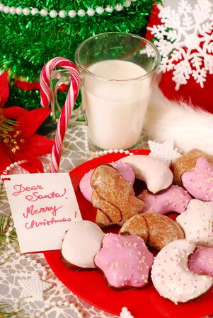 christmas morning: cookies and glass of hot milk waiting for santa claus on the table