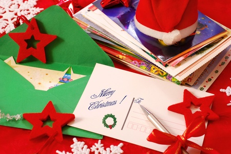 the christmas cards: writing traditional greeting cards for christmas to family or friends Stock Photo
