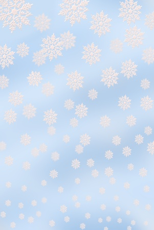 3D light blue background with falling down  snowflakes of the different size photo