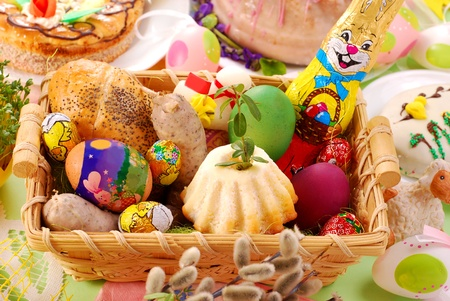 traditional in Poland easter basket with specially  prepared food,which the priest will bless in the church photo