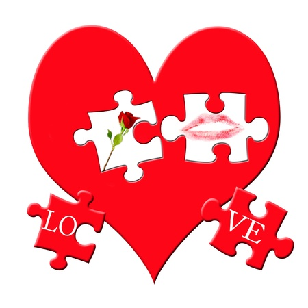 valentine`s puzzle with love symbols on big red heart  isolated on white photo