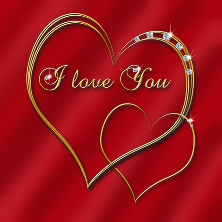 two golden hearts with shining diamonds and inscription-I love you- on dark  red background photo