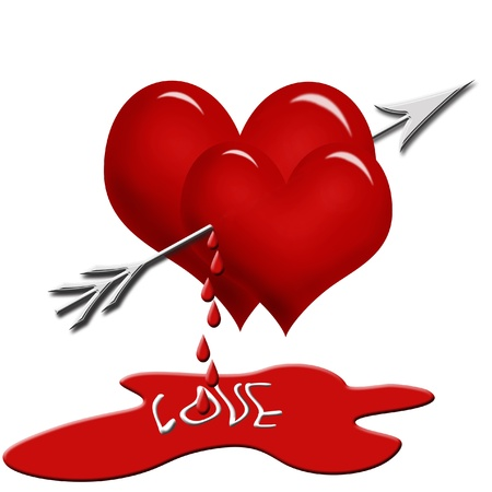 hurt: two red hearts pierced with the  arrow and dripping  blood isolated on white