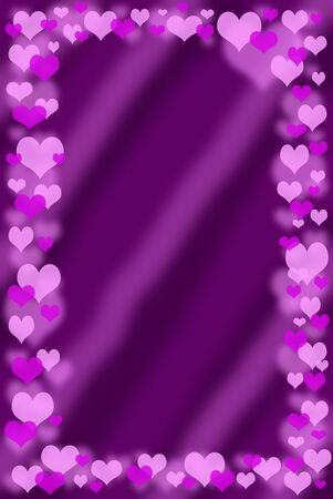 valentine`s frame with small pink hearts around  purple background
