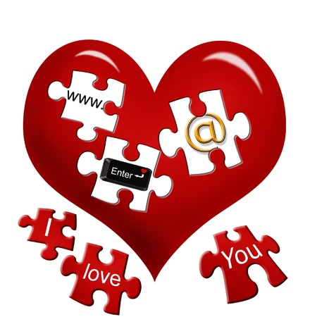 art piece: red heart with internet icons on puzzle pieces as e-love concept isolated on white
