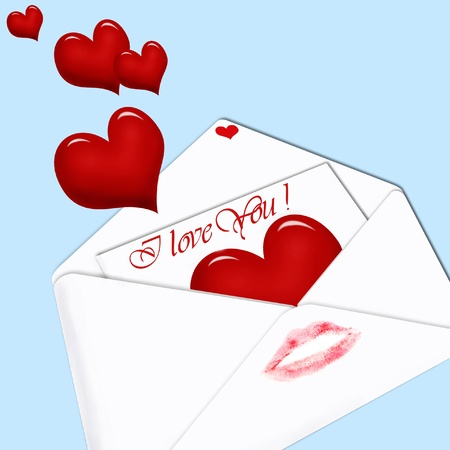 white envelope with love letter inside and red hearts on blue background photo