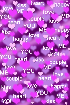 purple and pink hearts background with various love words  photo