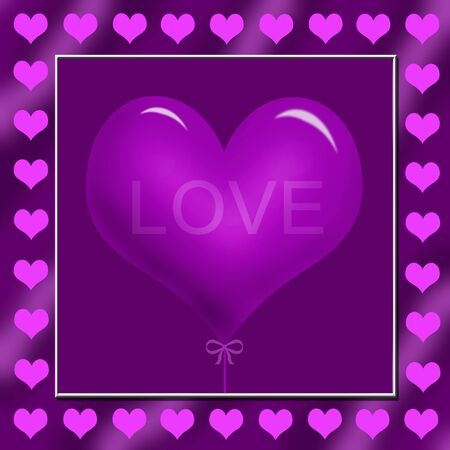 purple heart shape balloon and small pink hearts  around the square frame photo