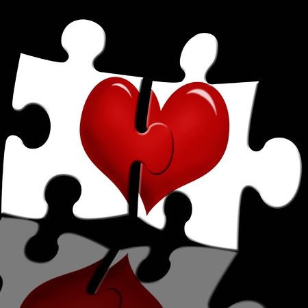 art piece: puzzle with red heart in two white pieces on black glass background Stock Photo