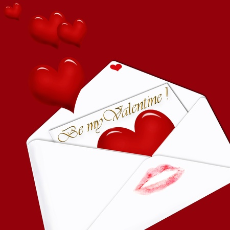 declaration of love: white envelope with love letter inside and  hearts on dark red background