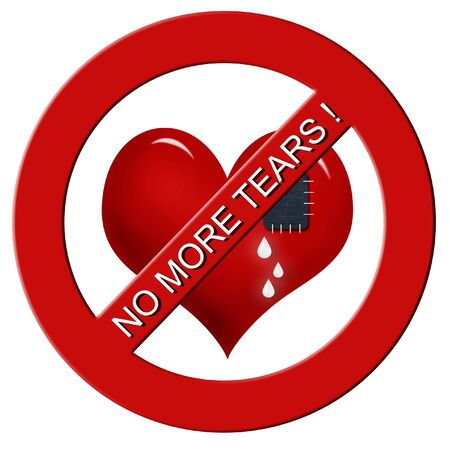 sewn: red heart with sewn jeans patch in stop sign with  inscription  Stock Photo