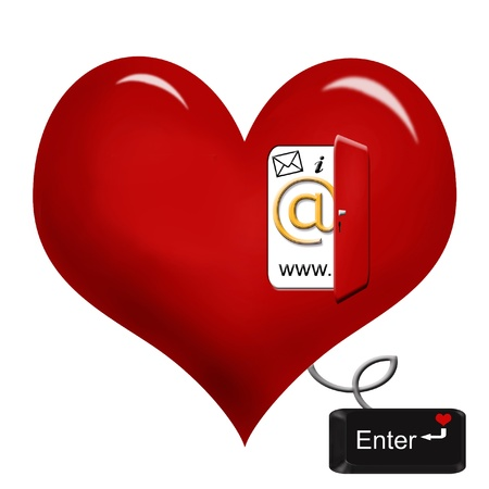 internet icons in opened door  on red heart and connected with cord to Stock Photo - 8640450