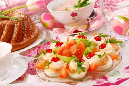 traditional  dishes for polish easter breakfast on festive table Banco de Imagens