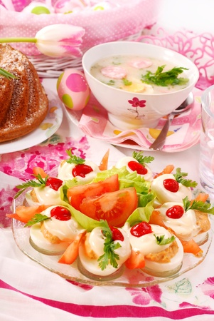 festive food: traditional  dishes for polish easter breakfast on festive table Stock Photo