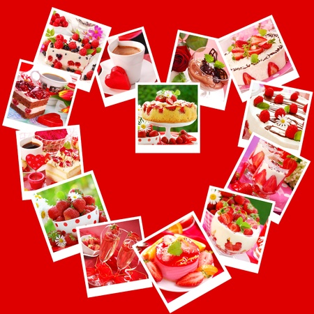 sweet desserts and cakes for valentine`s party-collage with images arranged in heart shape on red background photo