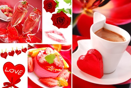 valentine`s party and love symbols  photos  arranged as collage  photo