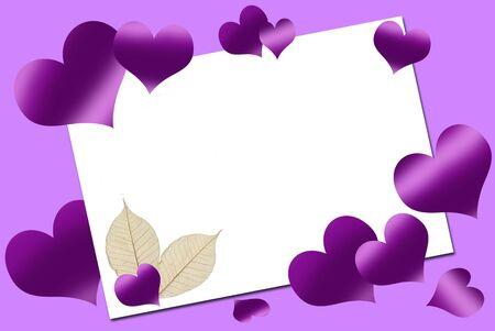purple hearts: empty white  card  and purple hearts around   Stock Photo