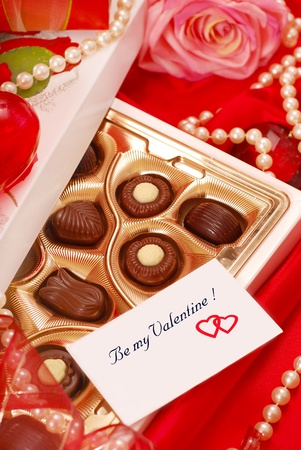 box of  chocolates with love card for Valentine`s day photo