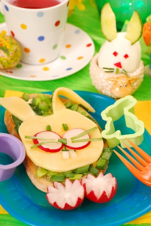 sandwiches: easter funny sandwich with  bunny for child`s breakfast