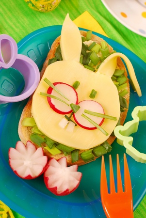 easter funny sandwich with  bunny for child`s breakfast photo