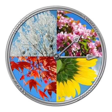 estaciones del a�o: collage de naturaleza en forma de reloj con cuatro estaciones del a�o aislados en blanco