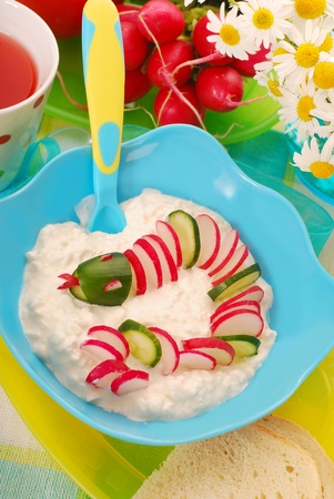 radish: healthy breakfast for child with bowl of cottage cheese,radish and cucumber in snake shape Stock Photo